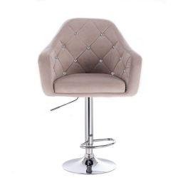Barová židle ROMA VELUR na stříbrném talíři - světle šedá