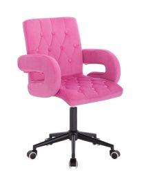 Židle  BOSTON VELUR na černé podstavě s kolečky - růžová