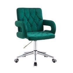 Kosmetická židle BOSTON VELUR na stříbrné podstavě s kolečky - zelená
