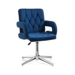 Kosmetická židle BOSTON VELUR na stříbrném kříži - modrá