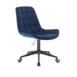 Kosmetická židle PARIS VELUR na černé podstavě s kolečky - modrá