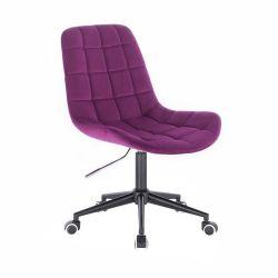 Kosmetická židle PARIS VELUR na černé podstavě s kolečky - fuchsie