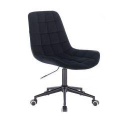Kosmetická židle PARIS VELUR na černé podstavě s kolečky - černá
