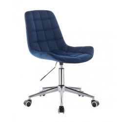 Kosmetická židle PARIS VELUR na stříbrné podstavě s kolečky - modrá