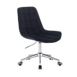 Kosmetická židle PARIS VELUR na stříbrné podstavě s kolečky - černá