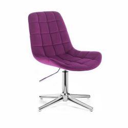 Kosmetická židle PARIS VELUR na stříbrném kříži - fuchsie
