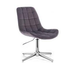 Kosmetická židle PARIS VELUR na stříbrném kříži - šedá