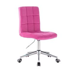 Kosmetická židle TOLEDO VELUR na stříbrné podstavě s kolečky - růžová