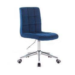 Kosmetická židle TOLEDO VELUR na stříbrné podstavě s kolečky - modrá
