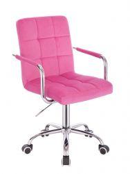 Kosmetická židle VERONA VELUR na stříbrné podstavě s kolečky - růžová