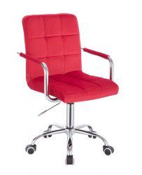 Kosmetická židle VERONA VELUR na stříbrné podstavě s kolečky - červená