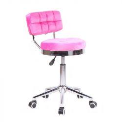 Kosmetická židle VIGO VELUR na stříbrné základně s kolečky - světle růžová
