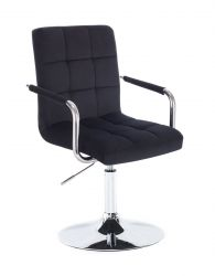Kosmetická židle VERONA VELUR na stříbrném talíři - černá