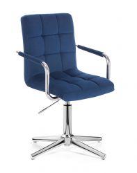 Kosmetická židle VERONA VELUR na stříbrném kříži - modrá