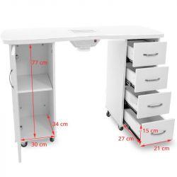 Kosmetický stolek SONIA 2027 bílý + pohlcovač prachu