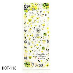 Vodolepky na zdobení nehtů - velký list 12,7 x 5,5cm HOT-118 (A)