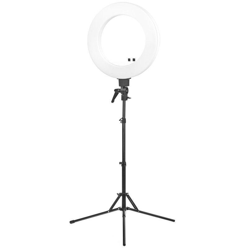 """Prstencová lampa RING LIGHT 18"""" 48W LED se stativem bílá"""
