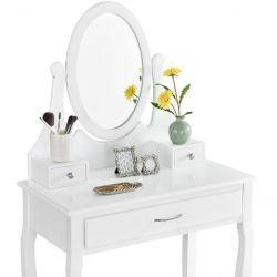 Toaletní stolek LENA se zrcadlem, 3 zásuvky + tabulet, bílá